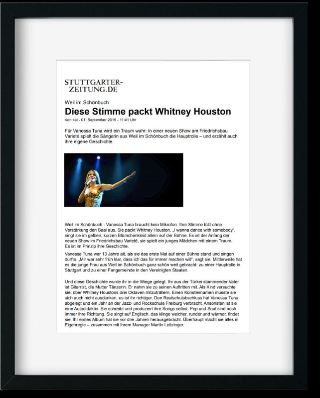 Stuttgarter Zeitungsartikel Whitney Houston Vanessa Tuna